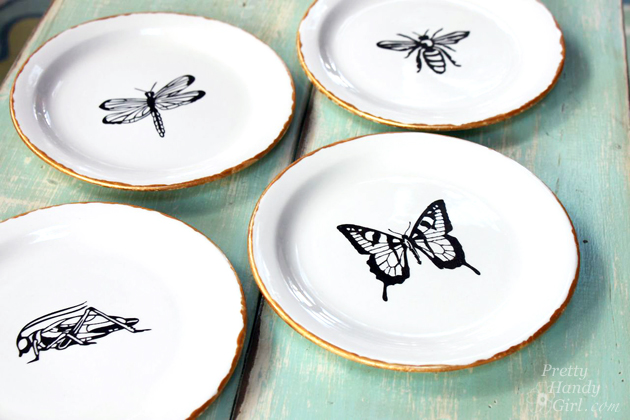 Pretty Handy Girl - Pen & Ink Sketch Decorative Plates